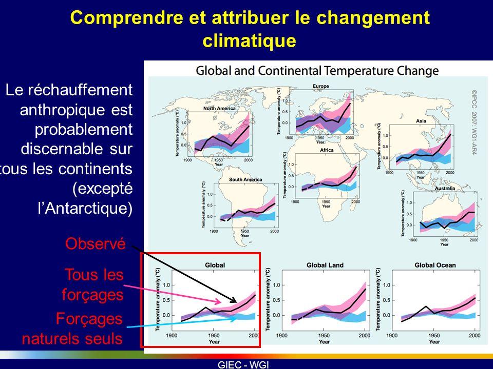 GIEC - WGI Comprendre et attribuer le changement climatique Le réchauffement anthropique est probablement discernable sur tous les continents (excepté