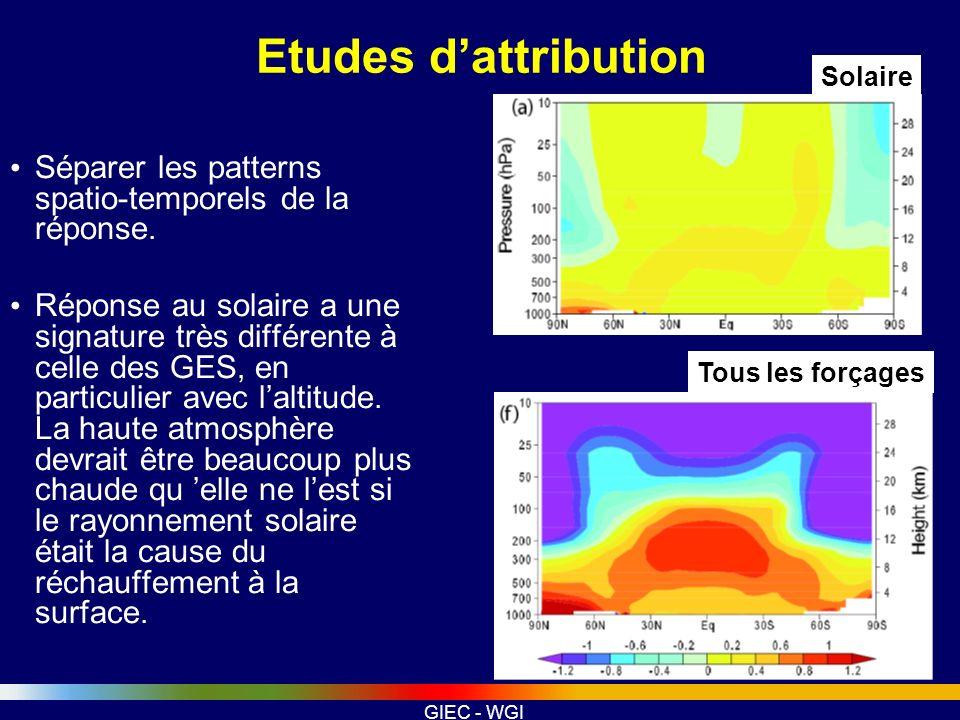 GIEC - WGI Etudes dattribution Séparer les patterns spatio-temporels de la réponse. Réponse au solaire a une signature très différente à celle des GES