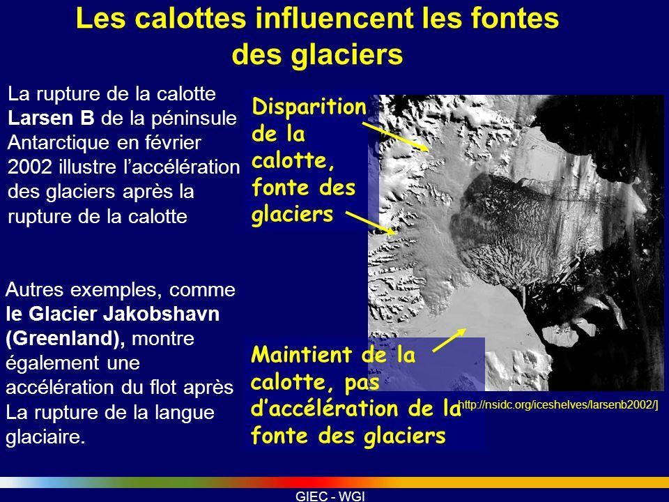 GIEC - WGI Disparition de la calotte, fonte des glaciers Maintient de la calotte, pas daccélération de la fonte des glaciers La rupture de la calotte