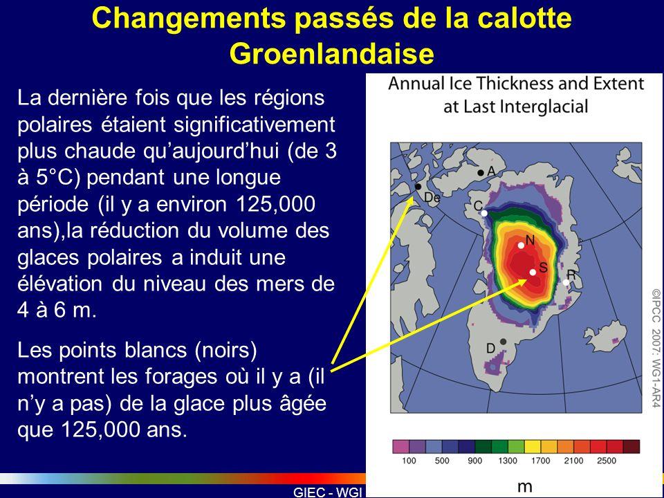 GIEC - WGI Changements passés de la calotte Groenlandaise La dernière fois que les régions polaires étaient significativement plus chaude quaujourdhui