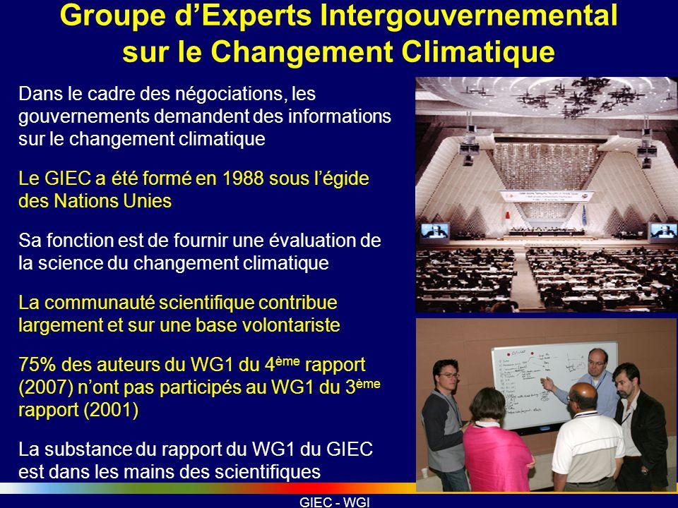 GIEC - WGI Préparation et Révision du WG1 AR4 Chaque rapport est une évaluation de létat de lart des connaissances basée sur la littérature révisée et publiée, le GIEC ne fait pas ou ne propose pas de recherche.