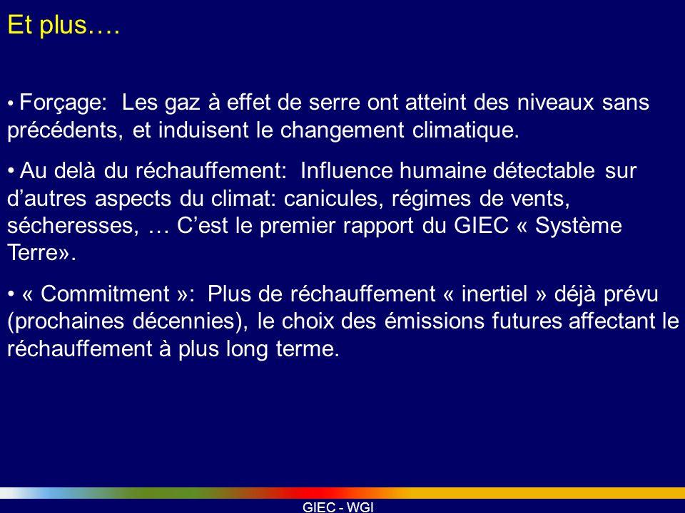 GIEC - WGI Et plus…. Forçage: Les gaz à effet de serre ont atteint des niveaux sans précédents, et induisent le changement climatique. Au delà du réch
