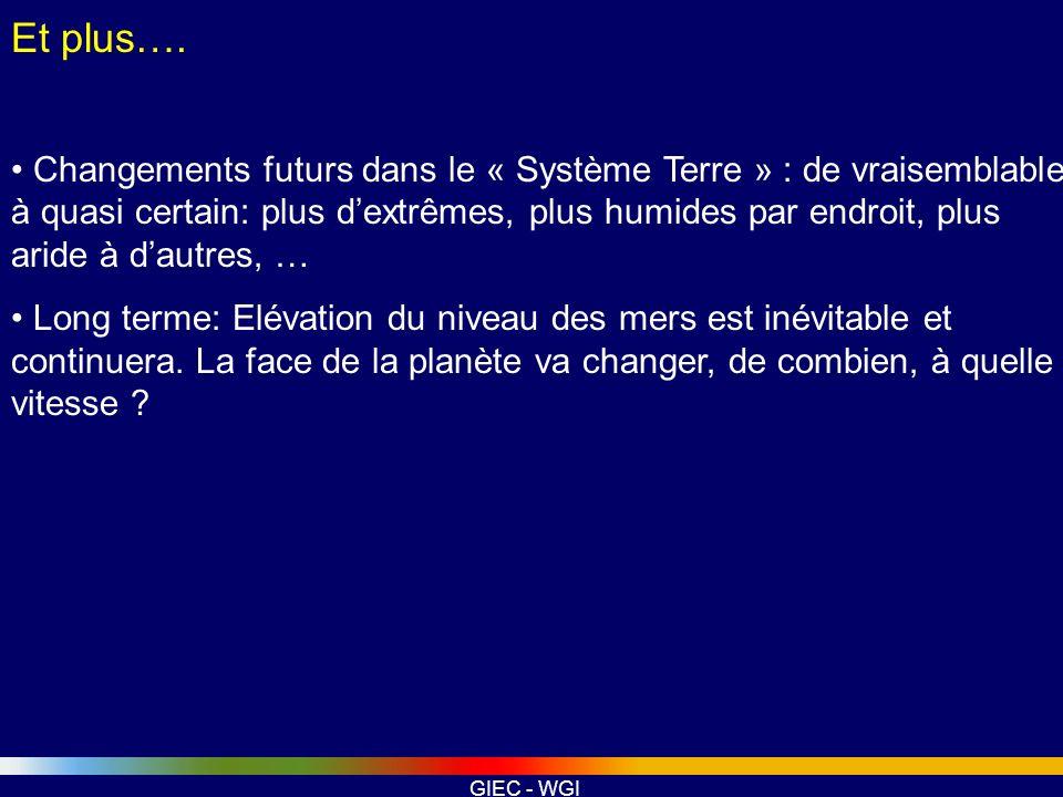 GIEC - WGI Et plus…. Changements futurs dans le « Système Terre » : de vraisemblable à quasi certain: plus dextrêmes, plus humides par endroit, plus a