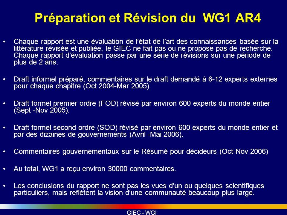 GIEC - WGI Préparation et Révision du WG1 AR4 Chaque rapport est une évaluation de létat de lart des connaissances basée sur la littérature révisée et