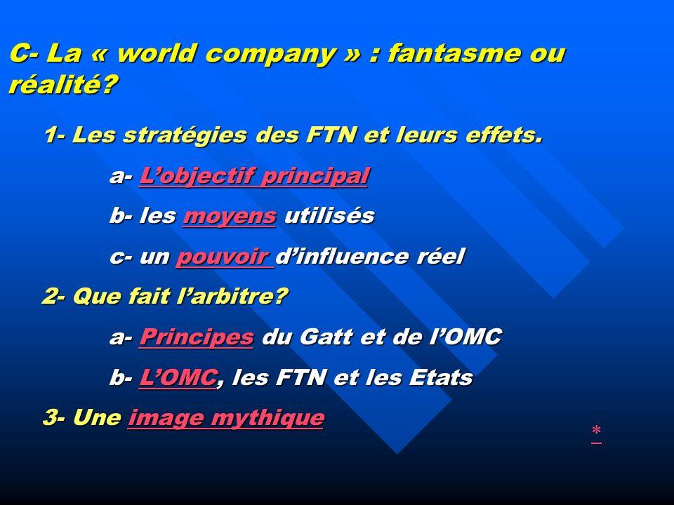 1- Les stratégies des FTN et leurs effets.
