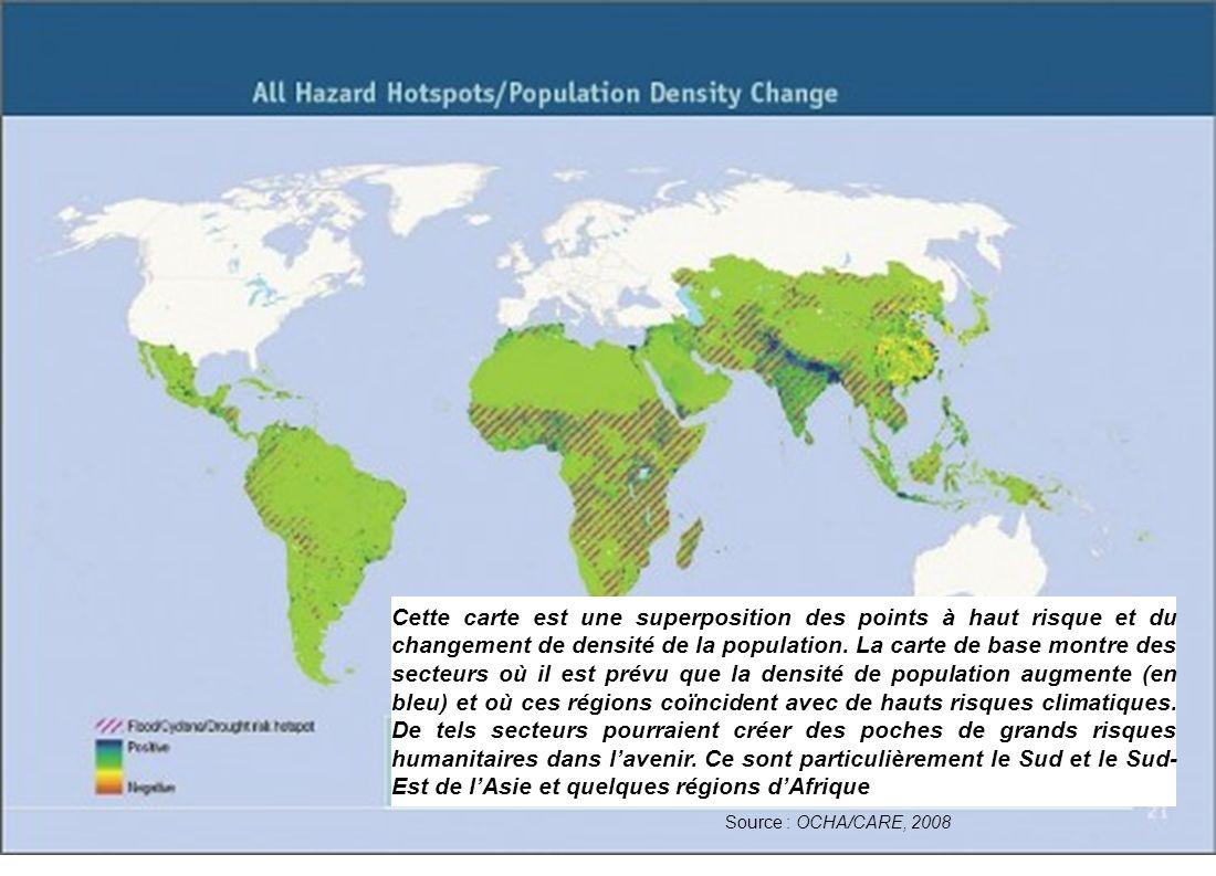 Source : OCHA/CARE, 2008 Cette carte est une superposition des points à haut risque et du changement de densité de la population.