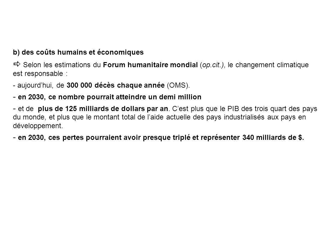 b) des coûts humains et économiques Selon les estimations du Forum humanitaire mondial (op.cit.), le changement climatique est responsable : - aujourdhui, de 300 000 décès chaque année (OMS).