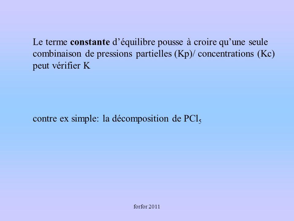 forfor 2011 Le terme constante déquilibre pousse à croire quune seule combinaison de pressions partielles (Kp)/ concentrations (Kc) peut vérifier K contre ex simple: la décomposition de PCl 5