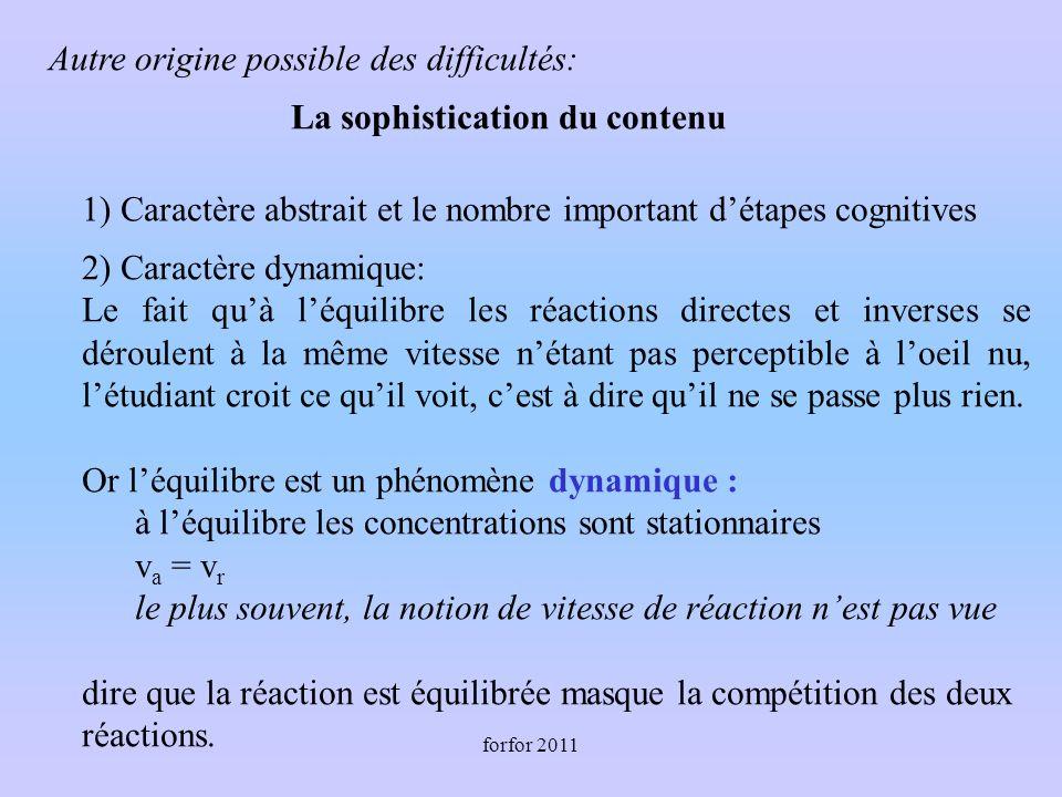 forfor 2011 Autre origine possible des difficultés: 1) Caractère abstrait et le nombre important détapes cognitives 2) Caractère dynamique: Le fait qu