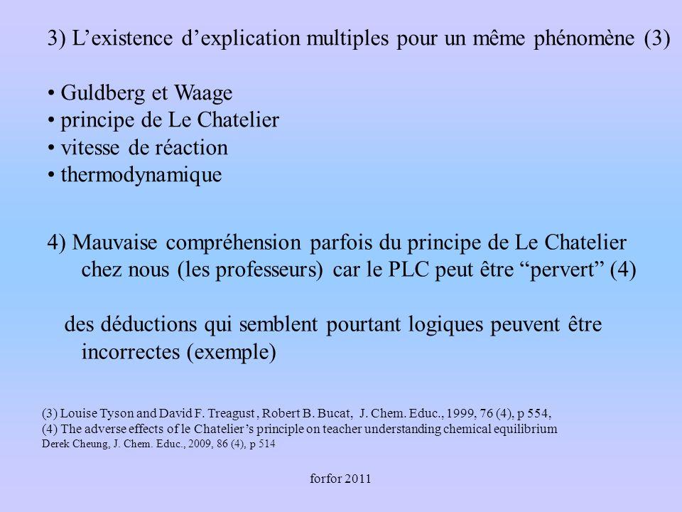 forfor 2011 3) Lexistence dexplication multiples pour un même phénomène (3) Guldberg et Waage principe de Le Chatelier vitesse de réaction thermodynam