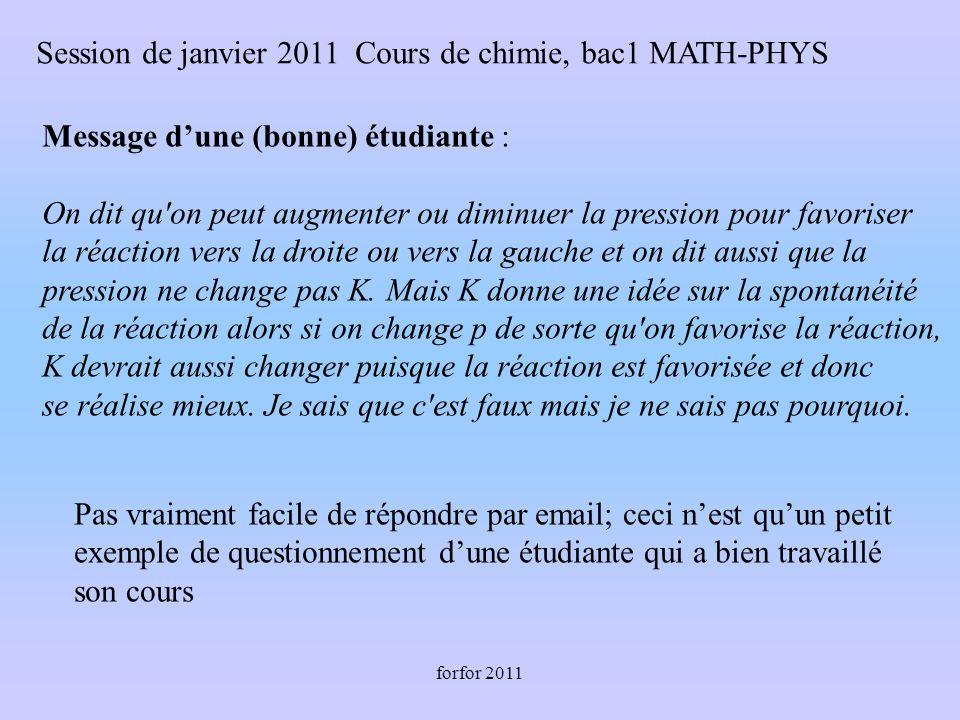 forfor 2011 Message dune (bonne) étudiante : On dit qu on peut augmenter ou diminuer la pression pour favoriser la réaction vers la droite ou vers la gauche et on dit aussi que la pression ne change pas K.
