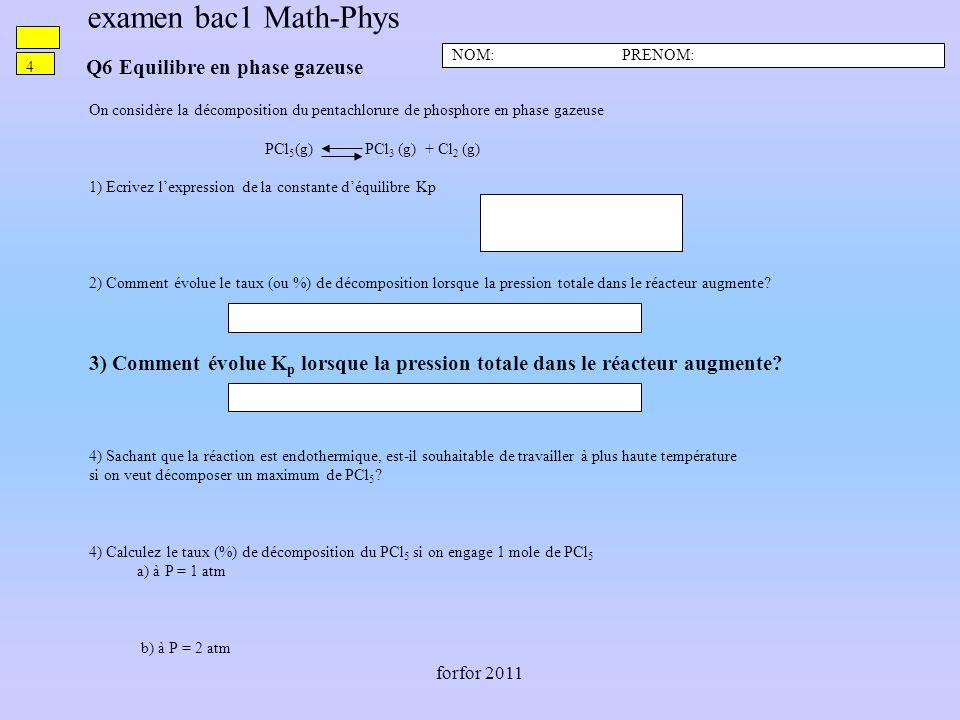 forfor 2011 Q6 Equilibre en phase gazeuse NOM: PRENOM: 4 On considère la décomposition du pentachlorure de phosphore en phase gazeuse PCl 5 (g) PCl 3