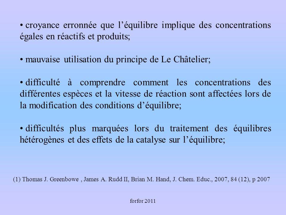 forfor 2011 croyance erronnée que léquilibre implique des concentrations égales en réactifs et produits; mauvaise utilisation du principe de Le Châtel