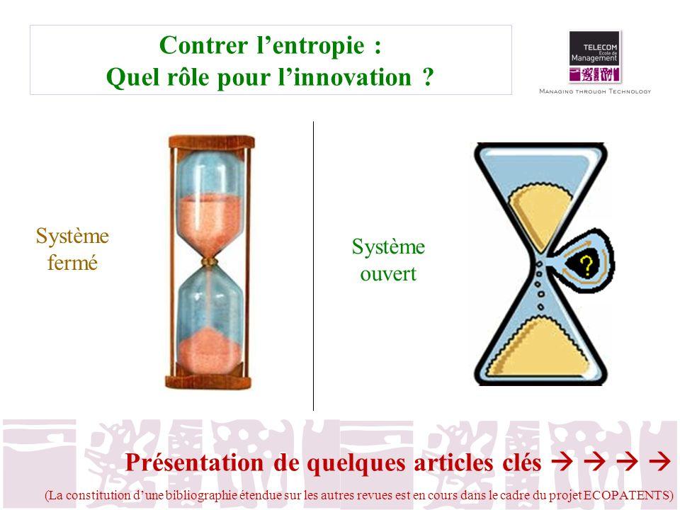 Contrer lentropie : Quel rôle pour linnovation ? Système fermé Système ouvert Présentation de quelques articles clés (La constitution dune bibliograph