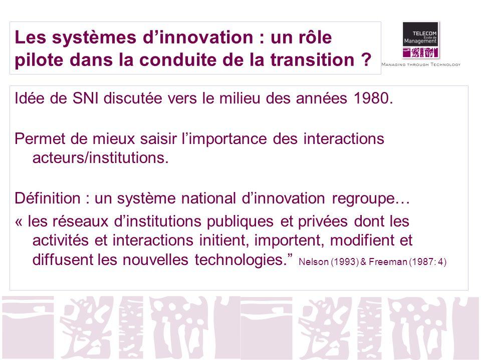 Les systèmes dinnovation : un rôle pilote dans la conduite de la transition ? Idée de SNI discutée vers le milieu des années 1980. Permet de mieux sai
