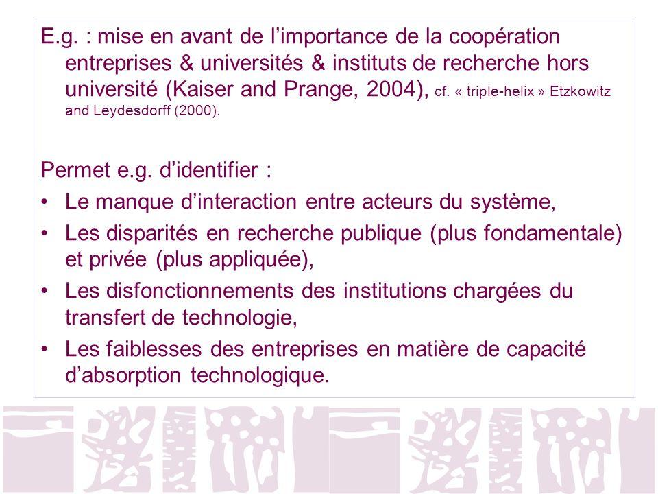 E.g. : mise en avant de limportance de la coopération entreprises & universités & instituts de recherche hors université (Kaiser and Prange, 2004), cf