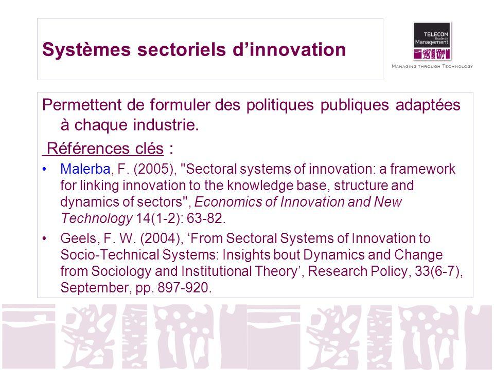 Systèmes sectoriels dinnovation Permettent de formuler des politiques publiques adaptées à chaque industrie. Références clés : Malerba, F. (2005),