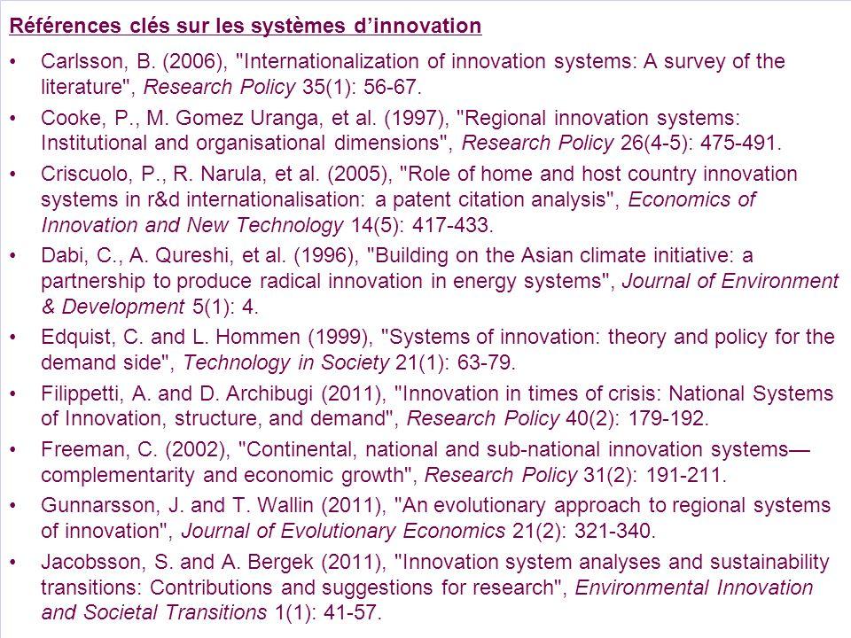 Références clés sur les systèmes dinnovation Carlsson, B. (2006),
