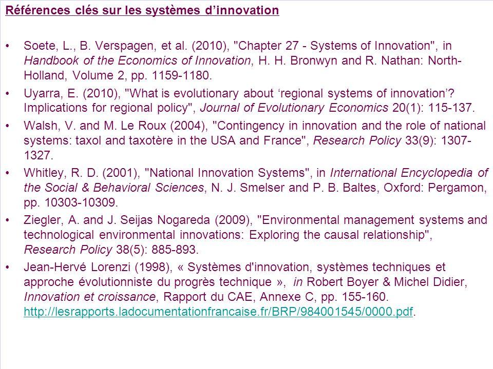 Références clés sur les systèmes dinnovation Soete, L., B. Verspagen, et al. (2010),
