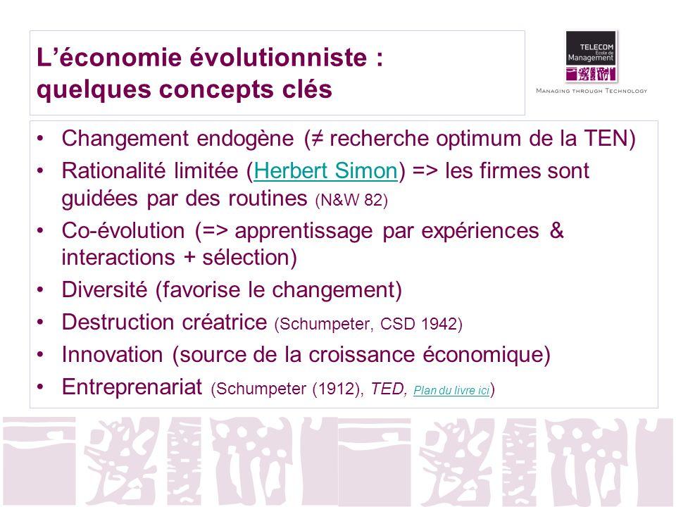 Changement endogène ( recherche optimum de la TEN) Rationalité limitée (Herbert Simon) => les firmes sont guidées par des routines (N&W 82)Herbert Sim