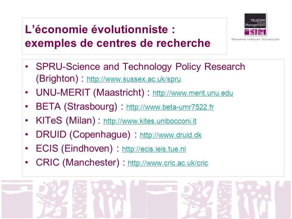 Léconomie évolutionniste : exemples de centres de recherche SPRU-Science and Technology Policy Research (Brighton) : http://www.sussex.ac.uk/spru http