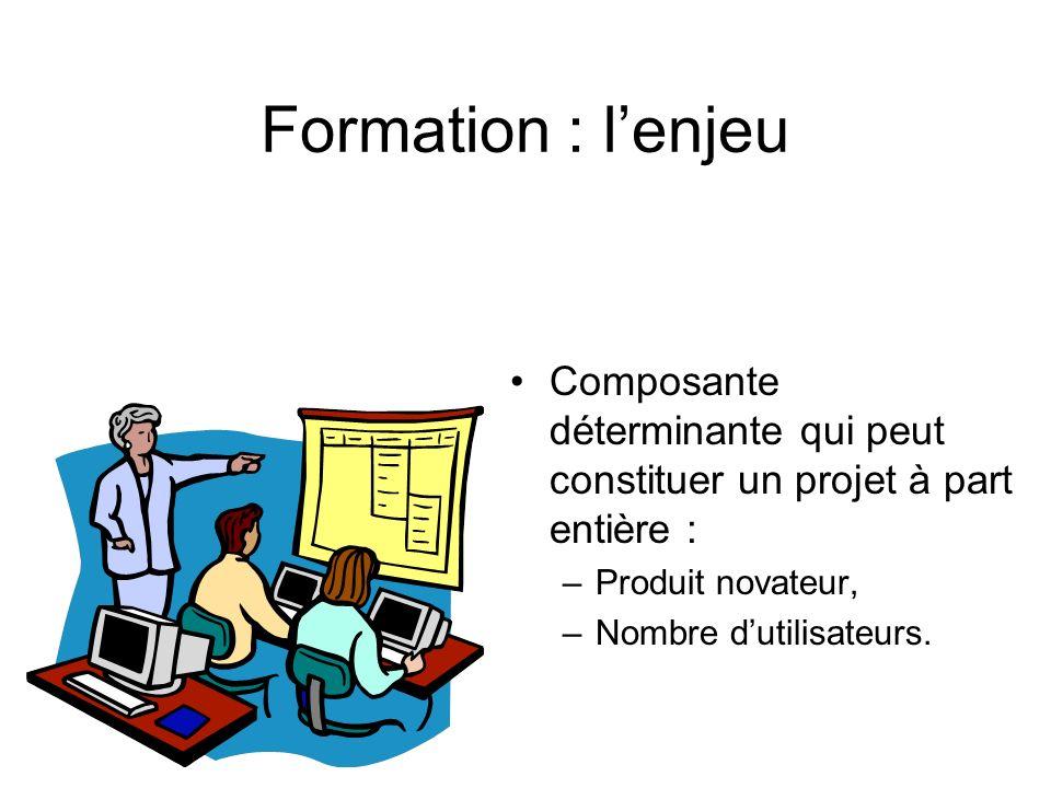 Formation : lenjeu Composante déterminante qui peut constituer un projet à part entière : –Produit novateur, –Nombre dutilisateurs.