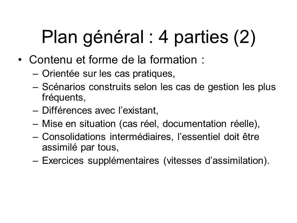 Plan général : 4 parties (2) Contenu et forme de la formation : –Orientée sur les cas pratiques, –Scénarios construits selon les cas de gestion les pl