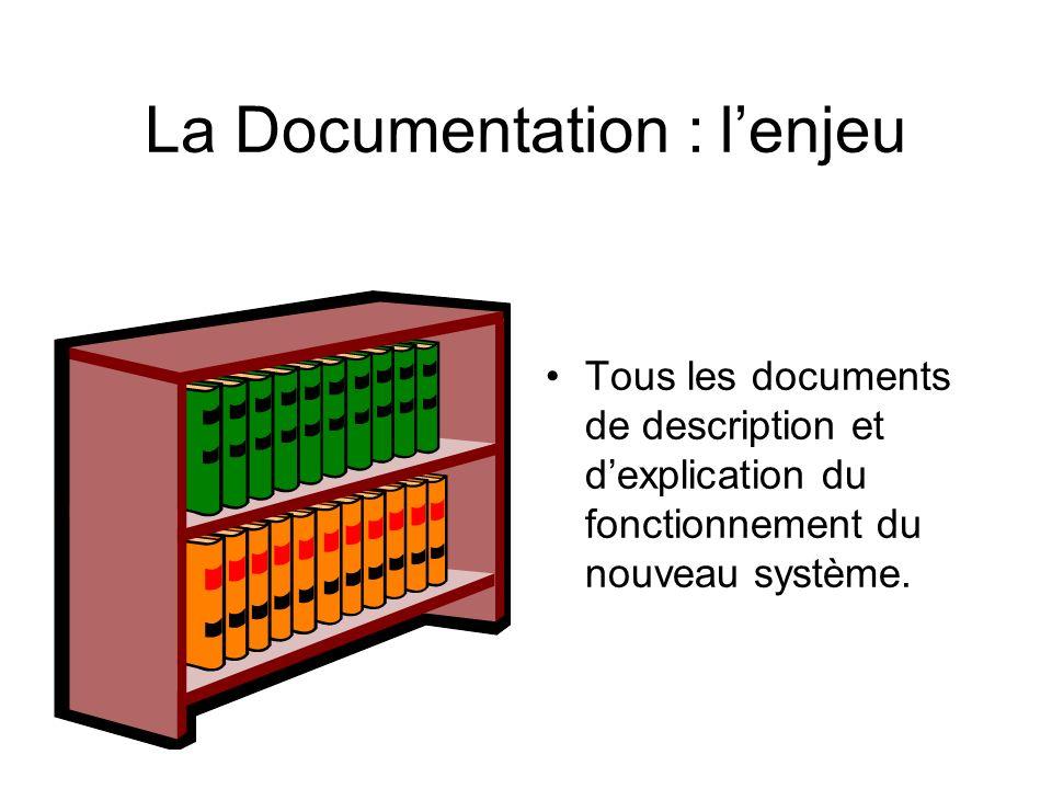 La Documentation : lenjeu Tous les documents de description et dexplication du fonctionnement du nouveau système.