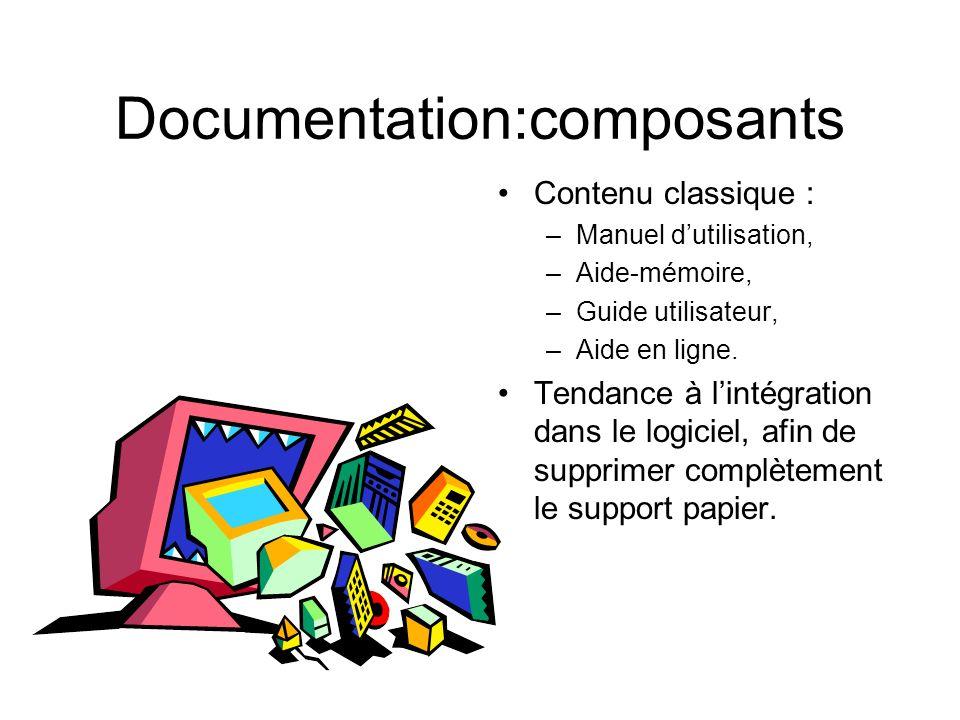 Documentation:composants Contenu classique : –Manuel dutilisation, –Aide-mémoire, –Guide utilisateur, –Aide en ligne. Tendance à lintégration dans le