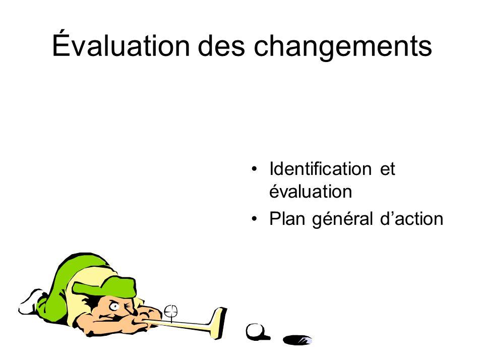 Évaluation des changements Identification et évaluation Plan général daction