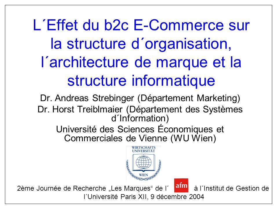L´Effet du b2c E-Commerce sur la structure d´organisation, l´architecture de marque et la structure informatique Dr. Andreas Strebinger (Département M
