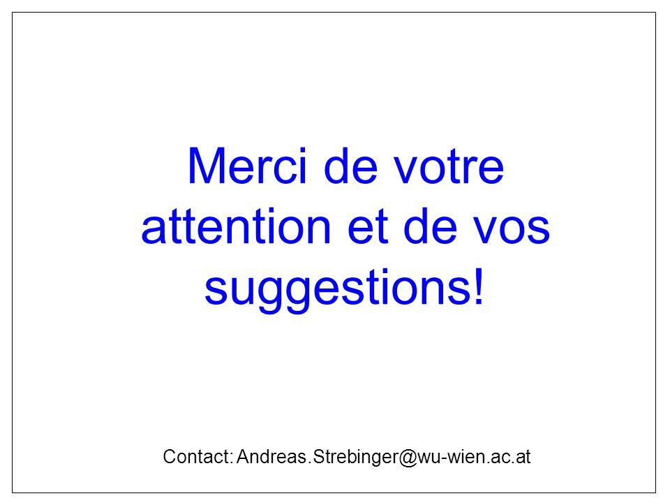Merci de votre attention et de vos suggestions! Contact: Andreas.Strebinger@wu-wien.ac.at