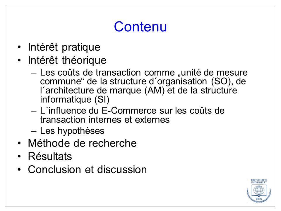Contenu Intérêt pratique Intérêt théorique –Les coûts de transaction comme unité de mesure commune de la structure d´organisation (SO), de l´architect