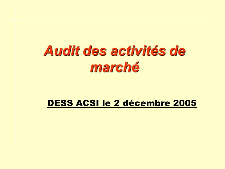 Audit des activités de marché DESS ACSI le 2 décembre 2005