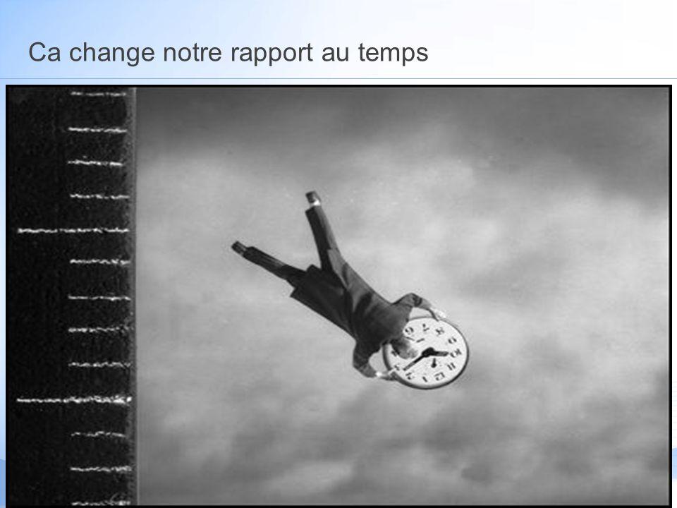 Ca change notre rapport au temps