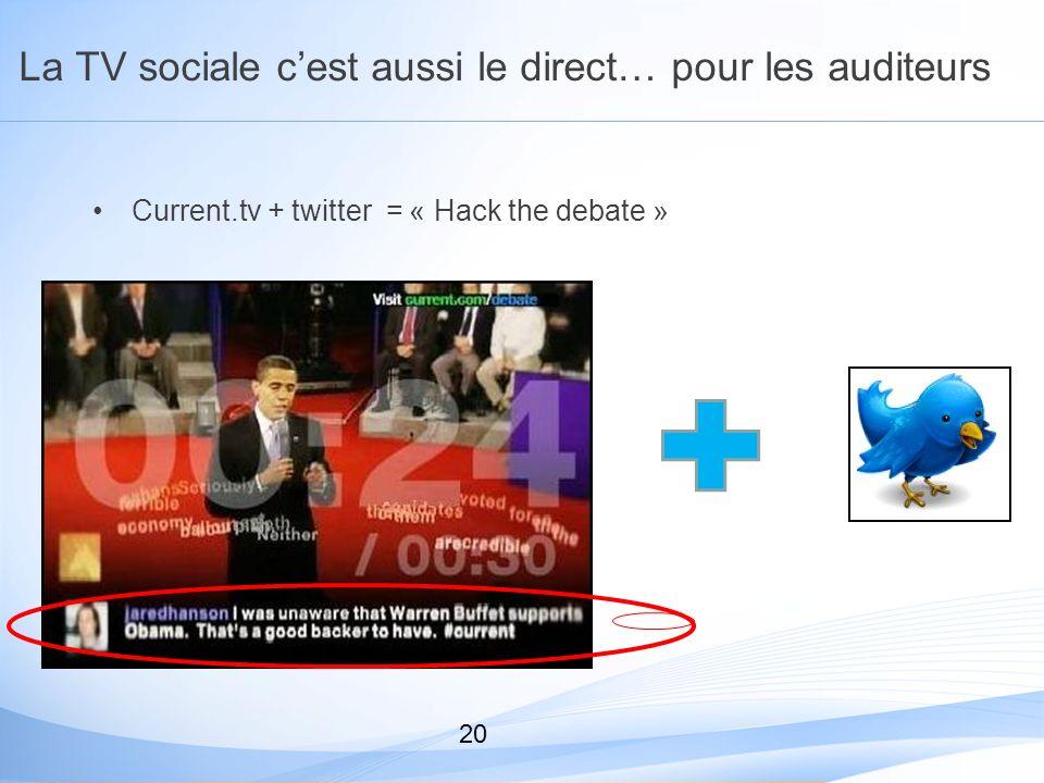 La TV sociale cest aussi le direct… pour les auditeurs Current.tv + twitter = « Hack the debate » 20