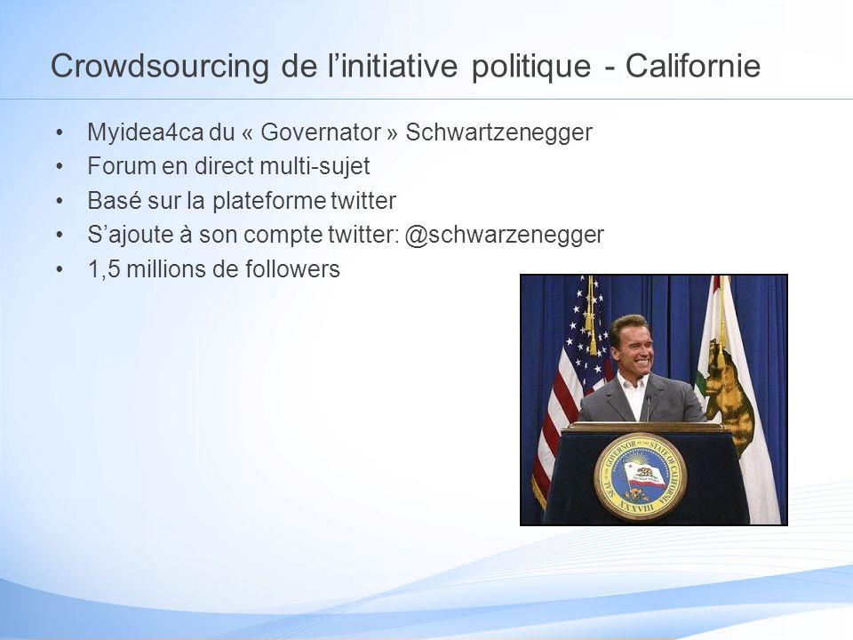 Crowdsourcing de linitiative politique - Californie Myidea4ca du « Governator » Schwartzenegger Forum en direct multi-sujet Basé sur la plateforme twitter Sajoute à son compte twitter: @schwarzenegger 1,5 millions de followers