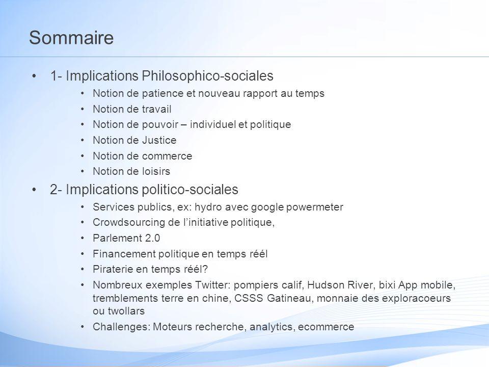 Sommaire 1- Implications Philosophico-sociales Notion de patience et nouveau rapport au temps Notion de travail Notion de pouvoir – individuel et poli