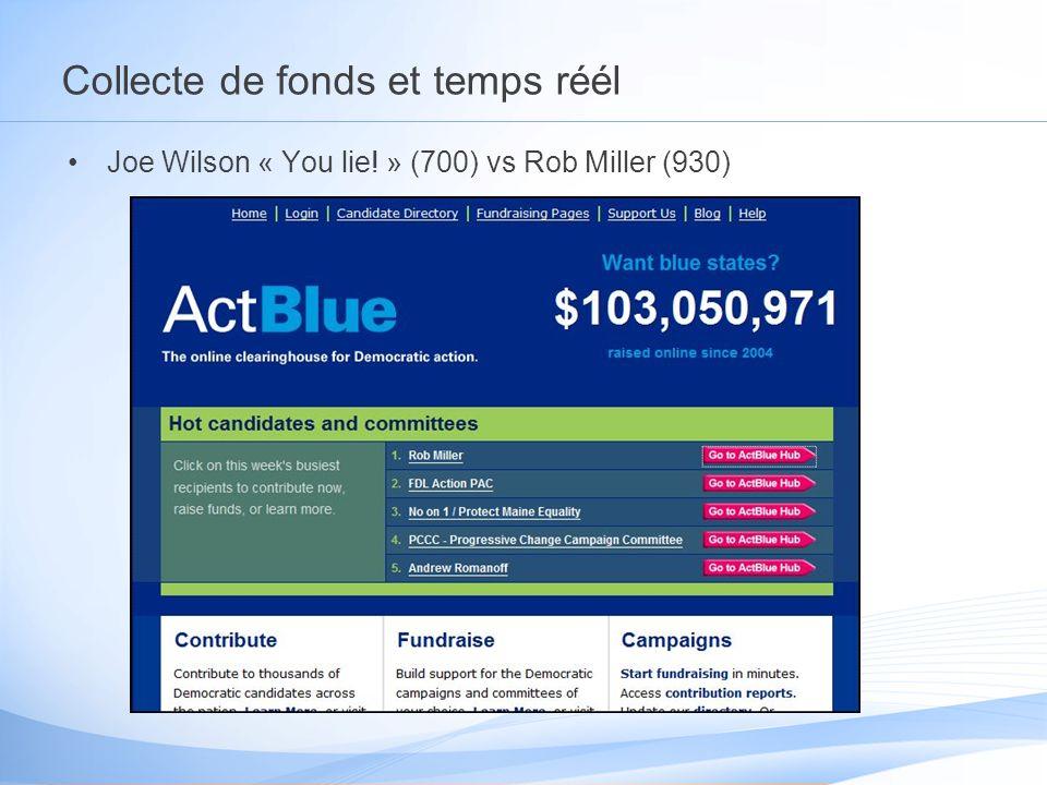 Collecte de fonds et temps réél Joe Wilson « You lie! » (700) vs Rob Miller (930)