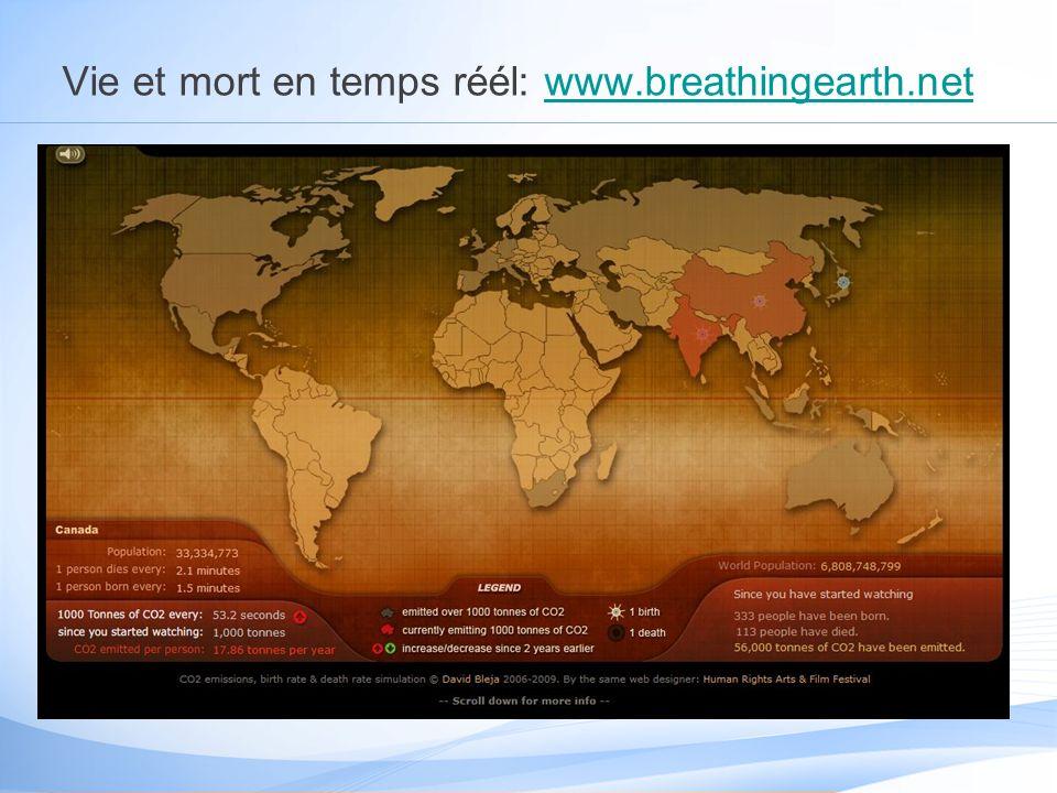 Vie et mort en temps réél: www.breathingearth.netwww.breathingearth.net