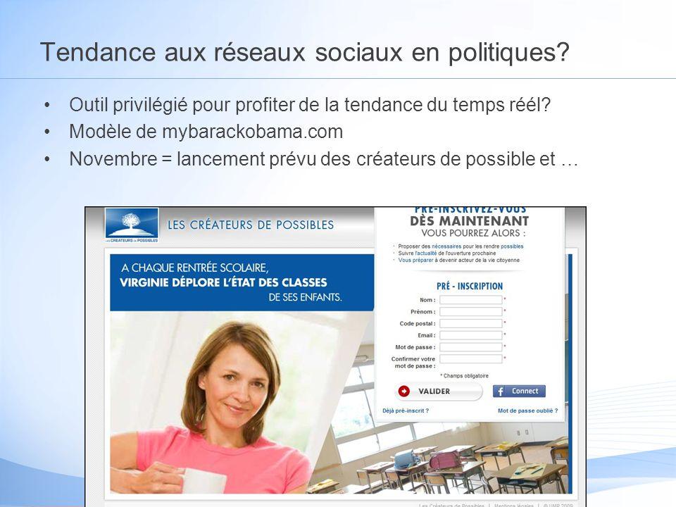 Tendance aux réseaux sociaux en politiques.