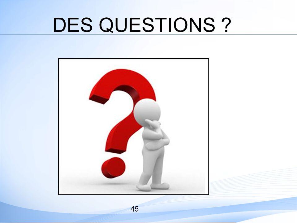 45 DES QUESTIONS ?