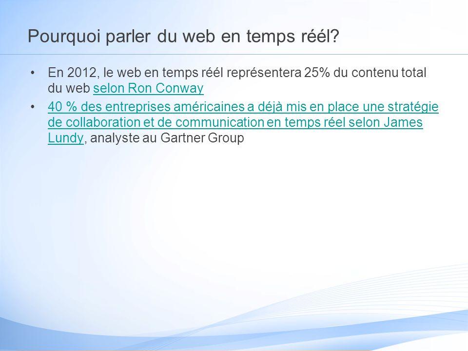 Pourquoi parler du web en temps réél? En 2012, le web en temps réél représentera 25% du contenu total du web selon Ron Conwayselon Ron Conway 40 % des