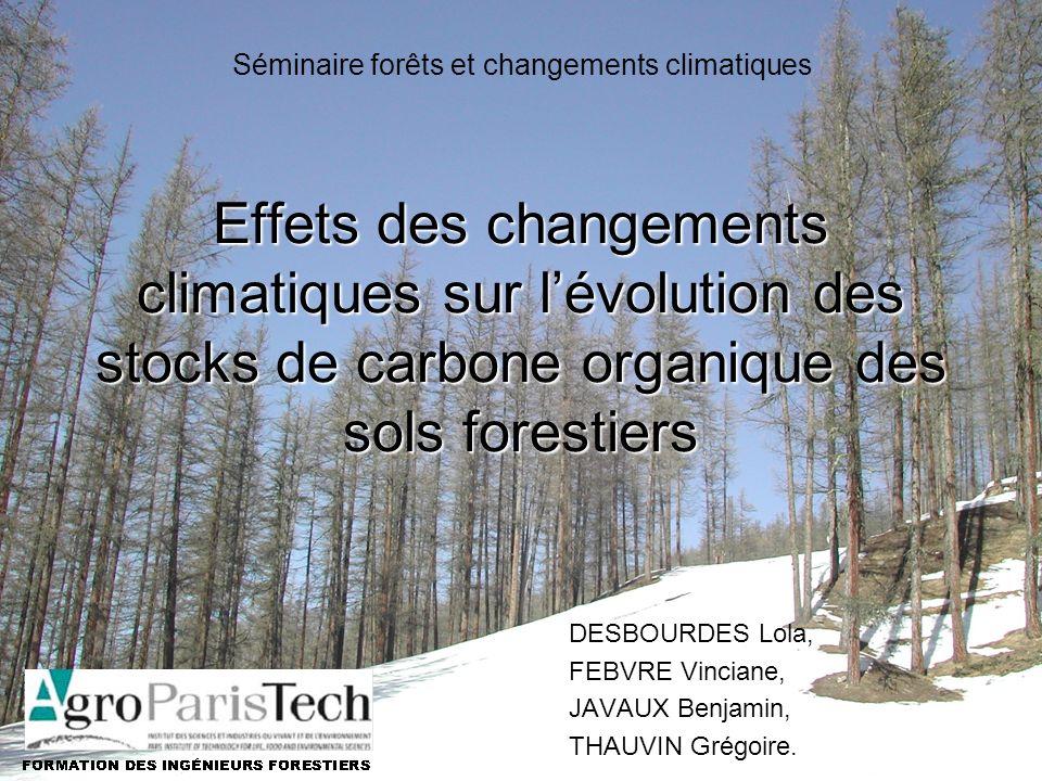 Les mécanismes contrôlant le stock de COS Résultats de modèlesIntroductionConclusion Effets des changements climatiques sur lévolution des stocks de carbone organique des sols forestiers DESBOURDES Lola, FEBVRE Vinciane, JAVAUX Benjamin, THAUVIN Grégoire.