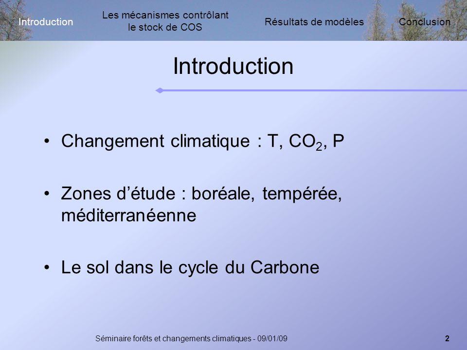 Les mécanismes contrôlant le stock de COS Résultats de modèlesIntroductionConclusion Séminaire forêts et changements climatiques - 09/01/093 Introduction