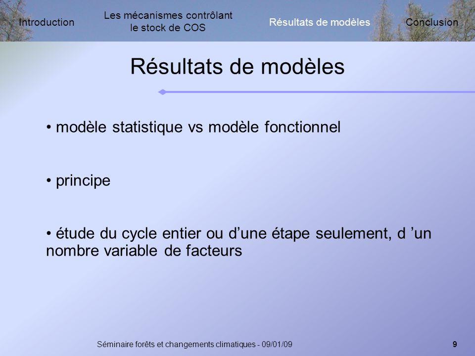 Les mécanismes contrôlant le stock de COS Résultats de modèlesIntroductionConclusion Séminaire forêts et changements climatiques - 09/01/0910 Résultats de modèles difficultés de synthèse, mais...