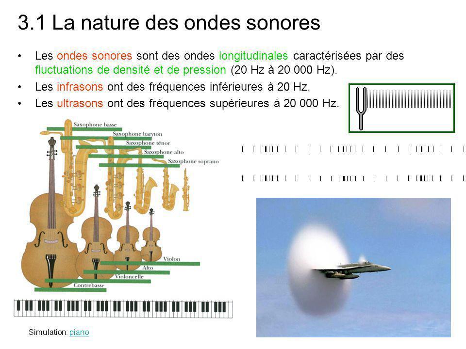 3.1 La nature des ondes sonores Les ondes sonores sont des ondes longitudinales caractérisées par des fluctuations de densité et de pression (20 Hz à 20 000 Hz).