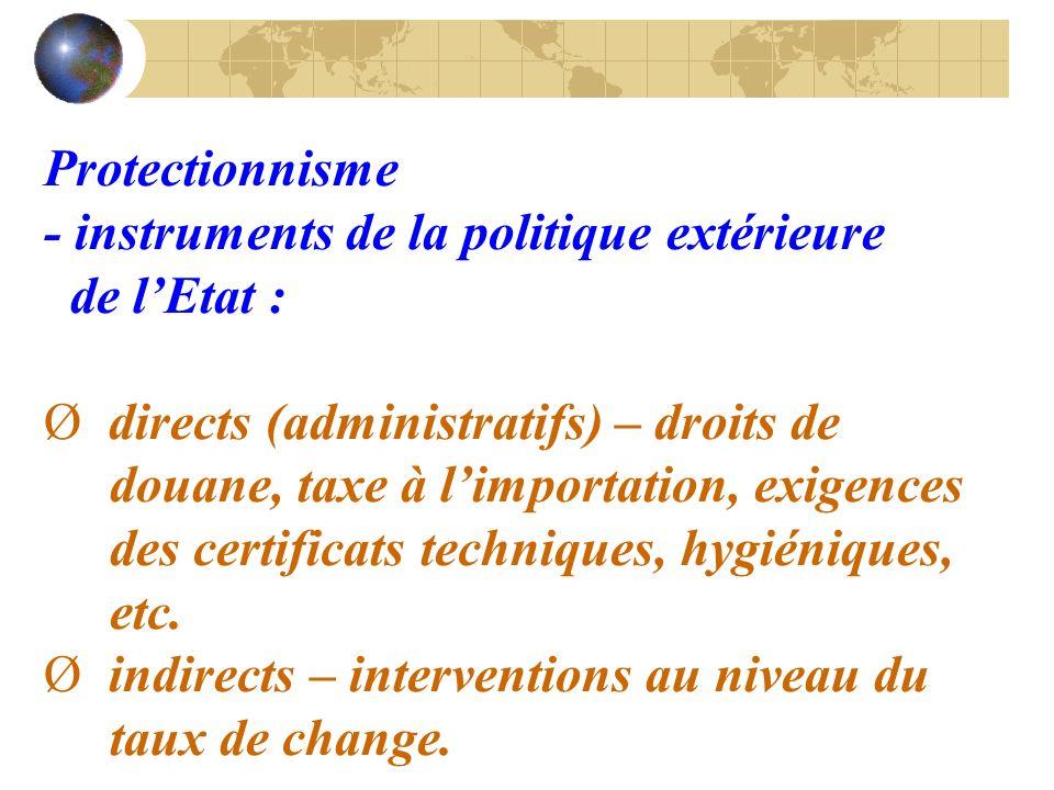 Protectionnisme - instruments de la politique extérieure de lEtat : Ø directs (administratifs) – droits de douane, taxe à limportation, exigences des