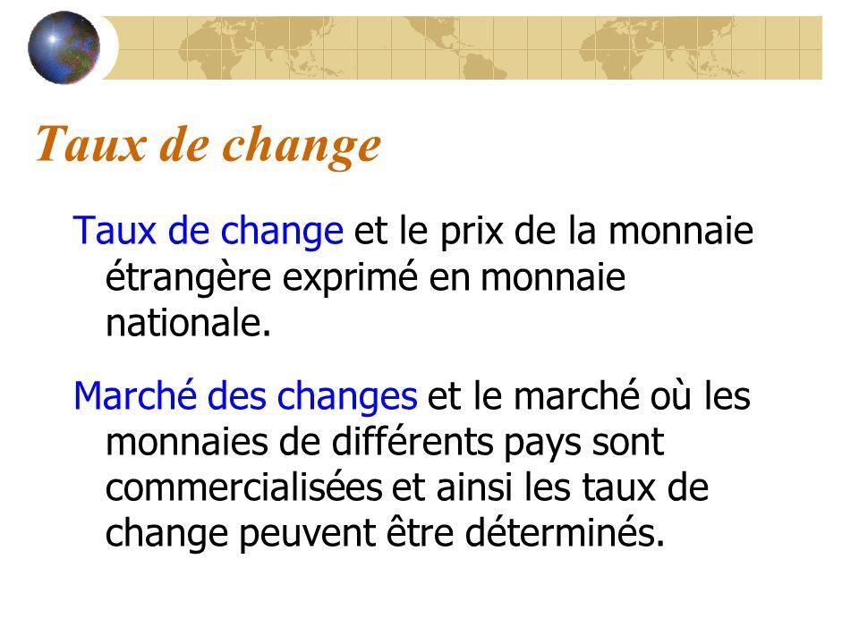 Taux de change Taux de change et le prix de la monnaie étrangère exprimé en monnaie nationale. Marché des changes et le marché où les monnaies de diff