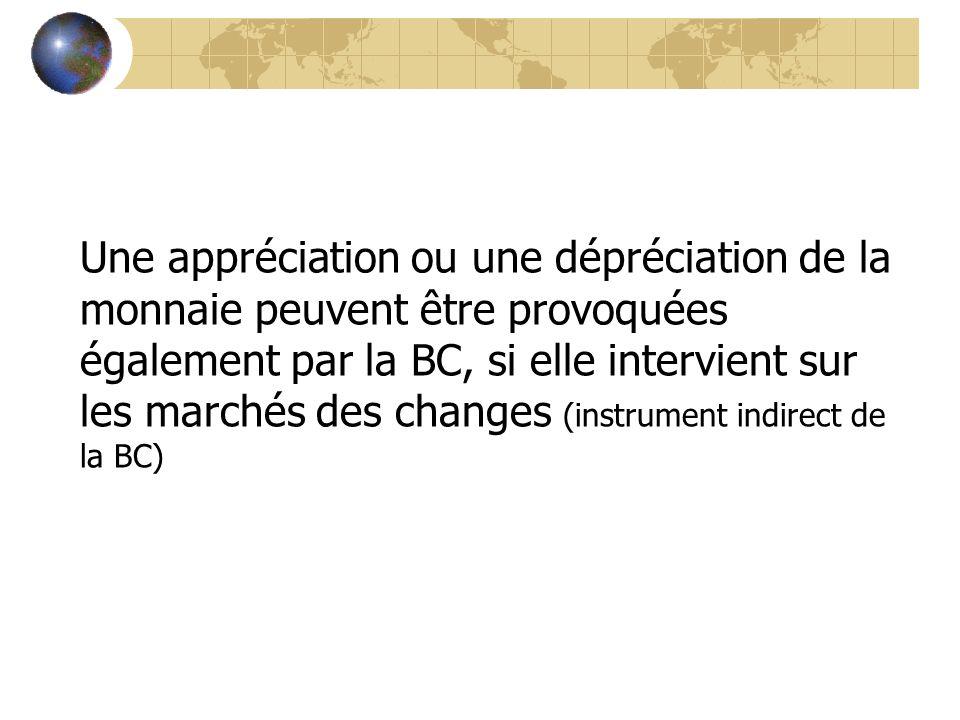 Une appréciation ou une dépréciation de la monnaie peuvent être provoquées également par la BC, si elle intervient sur les marchés des changes (instru